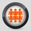 Vector illustration of a gray and orange icon depicting a global people union - Stock Vector