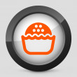 Vector illustration of a gray and orange icon depicting a snack — Imagen vectorial