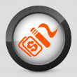 """Vector illustration of a gray and orange icon depicting """"for sale"""" sign — Stock Vector"""