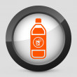 Stock Vector: Vector illustration of a gray and orange icon depicting a bottle of cool drink