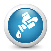Vector blue glossy icon depicting tube with water — Stock Vector