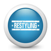 "Vector blue glossy icon depicting ""restyling"" sign — Stock Vector"