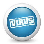 """Vector blue glossy icon depicting """"virus"""" sign — Stock Vector"""