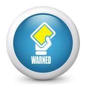 Icône de papier glacé vecteur bleu dépeignant la main tenant le carton jaune — Vecteur