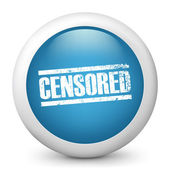 """Vector blue glossy icon depicting """"censored"""" symbol — Stock Vector"""