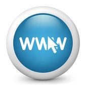 Icône de papier glacé vecteur bleu représentant la connexion par le web — Vecteur