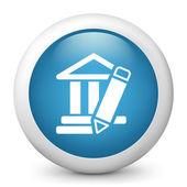 Wektor niebieski ikona przedstawiająca klasycznej architektury starożytnej koncepcji — Wektor stockowy