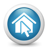 Vector blue glossy icon depicting house and mouse pointer — Stock Vector