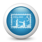Vector blue glossy icon depicting England — Stock Vector