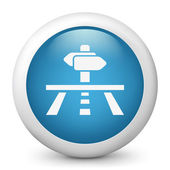 Vector blue glossy icon depicting concept of satellite navigation — Stock Vector