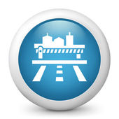 Vector blue glossy icon depicting road to a city — Stock Vector