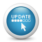 Vector blue glossy icon depicting update — Stock Vector