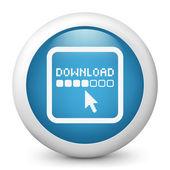 Vector mavi parlak simge download resmeden — Stok Vektör