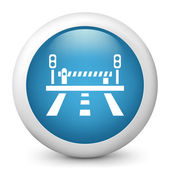 Vector blue glossy icon depicting closed level crossing — Stock Vector