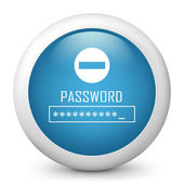 "Vector blue glossy icon depicting ""password request"" symbol — Stock Vector"