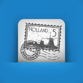 Blue and gray icon depicting Holland stamp — Stock Vector