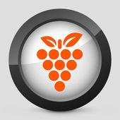 矢量插图描绘葡萄灰色和橙色图标 — 图库矢量图片