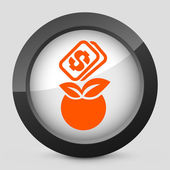 Vector illustration of a gray and orange icon depicting a peach — Stock Vector