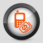 Vector illustration of a gray and orange icon depicting a mobile phone — Stock Vector