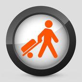 Illustrazione vettoriale di un grigio e arancia icona raffigurante uomo con la valigia — Vettoriale Stock