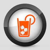 Vector illustration of a gray and orange icon depicting cocktail — Stock Vector