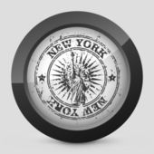 Vector illustration of a gray and black icon depicting New York — Stock Vector