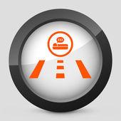 矢量插图描绘汽车旅馆街的一个灰色和橙色图标 — 图库矢量图片
