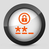 Vector illustration of a gray and orange icon depicting passwords — Stock Vector