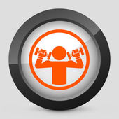 Vector illustration of a gray and orange icon depicting weightlifting — Stock Vector