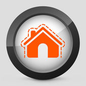Vector illustration of a gray and orange icon depicting a house protection — Stock Vector