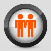 Vector illustration of a gray and orange icon depicting a gay union — Stock Vector
