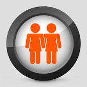 Vector illustration of a gray and orange icon depicting a lesbian union — Stock Vector