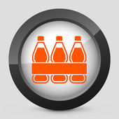 Vector illustration of a gray and orange icon depicting a pack of bottles — Stock Vector