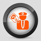 Vector illustration of a gray and orange police icon — Stock Vector