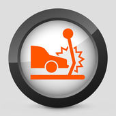 Vector illustration of a gray and orange icon depicting a car collision — Stock Vector