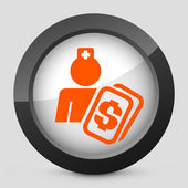 Vector illustration of a gray and orange icon depicting a medical cost — Stock Vector