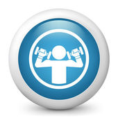 Vector glossy blue illustration icon depicting weightlifting — Stock Vector