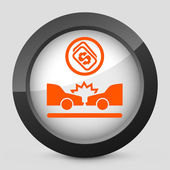 Vector illustration of a gray and orange icon depicting a street interrupted by accident — Stock Vector