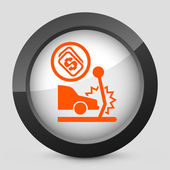 Vector illustration of a gray and orange icon depicting a car accident — Stock Vector