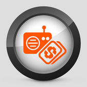 Vector illustration of a gray and orange icon depicting a radio cost — Stock Vector