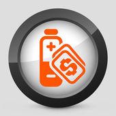 Ilustracja wektorowa szary i pomarańczowy ikony przedstawiające koszty energii — Wektor stockowy