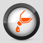 Vector illustration of a gray and orange icon depicting a bottle pouring liquid — Stock Vector