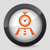Bir kronometre tasvir eden gri ve turuncu bir simge vektör çizim — Stok Vektör