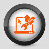Vector illustration of a gray and orange icon depicting laptop repair button — Vettoriale Stock