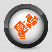 Vector illustration of a gray and orange icon depicting radio reparation button — Stock Vector