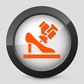 Vector illustration of a gray and orange shoemaker icon — Stock Vector