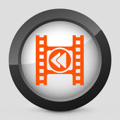 Vector illustration of a gray and orange icon depicting a next button of a video player — Stock Vector