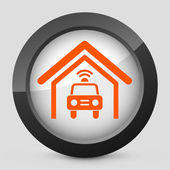 Vector illustration of a gray and orange icon depicting a police car — Stock Vector