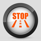 Vector illustration of a gray and orange icon depicting a stop sign on the road — Stock Vector