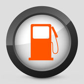 Vector illustration of a gray and orange icon depicting a symbol of gasoline — Stock Vector